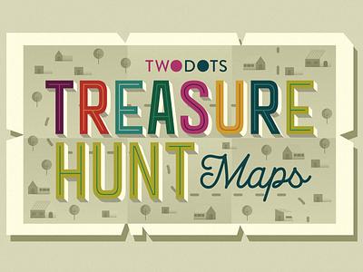 Treasure Hunt Maps flat two dots logo treasure map