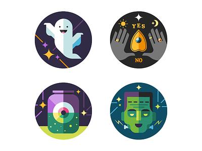 Halloween Compliment Stickers halloween eye jar frankestein ouija hands ghost