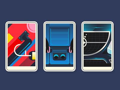 Cards close up seat belt car suitcase card
