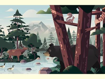 Uber Greenlight Hubs Mural Illustrations tree pine tree forest moutians bear seattle landscape
