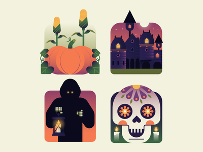 Fall Icons skull sugar skuul halloween autumn pumpkin fall