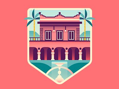 Mexican Hacienda badge hunting badge design fountain palm trees hacienda mexico house badge