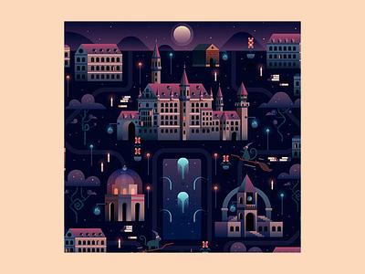 Magic Academy flat illustration map landscape city castle