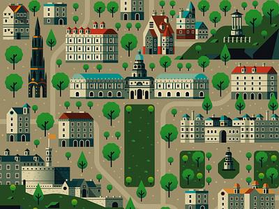 Edinburgh Map edinburgh illustration green map landscape flat city