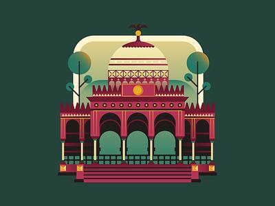 Kiosko Morisco / Mexico City architecture illustration icon mexico badge flat