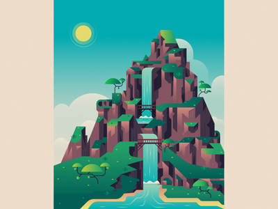 Waterfall mountain waterfall illustration flat landscape