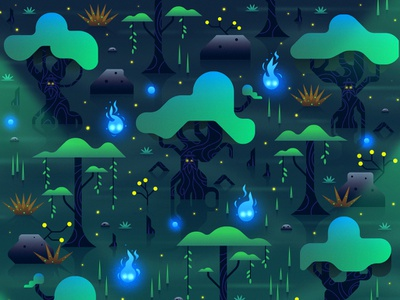 Will-O-The-Wisp magic magical trees landscape illustration forest