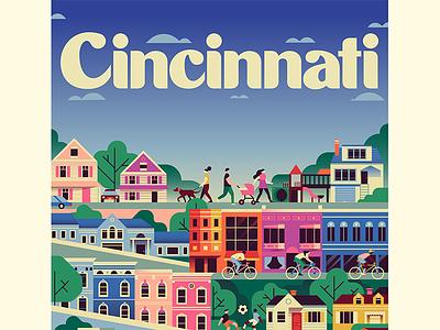 Cincinnati Magazine - Where to live next 2019 Cover neighborhoods neighborhood architecture buildings editorial illustration