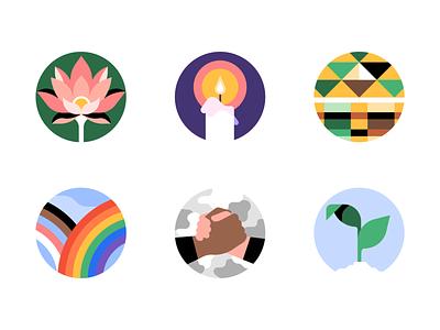 Uber Employee Resource Groups vector faith equality black asian pride icons logo design inclusion diversity uber design erg uber