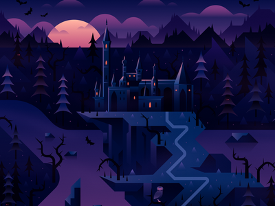 Dracula's Castle dracula bats trees vector spooky halloween horror castle
