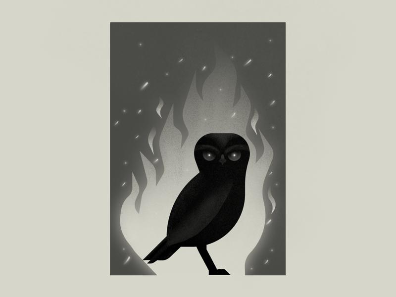 Yokai: Tatarimokke photoshop illustration fire flames owl yokai