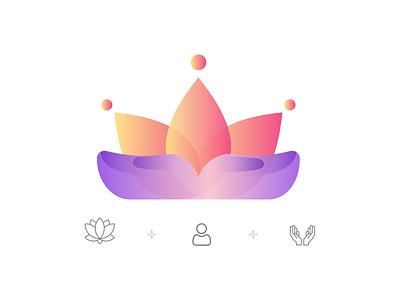 Lotus Logo minimalism purple orange gradient logo gradient lotus flower lotus logo lotus logo flower logo flower