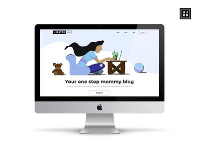Hipster Mum Website Hero vector web typography ux logo illustration adobe illustrator ui adobe xd