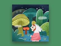 Mushroom forest after rain