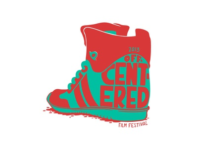 Off Centered Film Fest illustration design logo 90s hip hop sneaker shoe tennis hightop basketball
