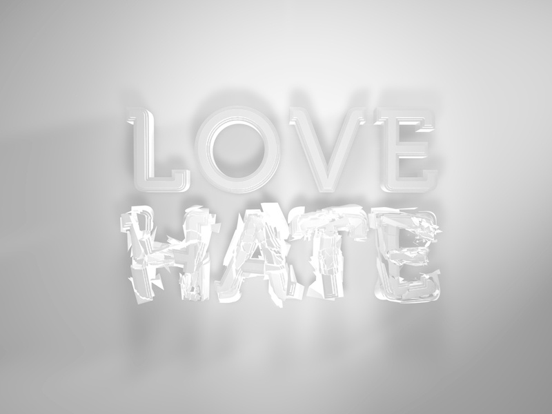 Love Hate 2 typography 3d lightening