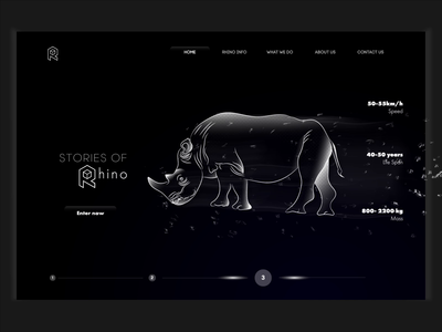 Rhino landing page gradient color lineart illustration blackandwhite skills motiongraphics animated frontend website design animals creative landing page web design web