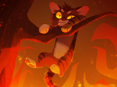 Hang In There parody fire forest silly cat poster kid lit art illustration character design animal art