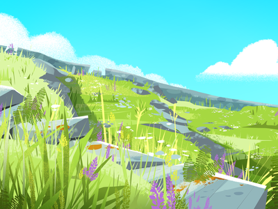 Meadow illustration digital pretty environment background design nature
