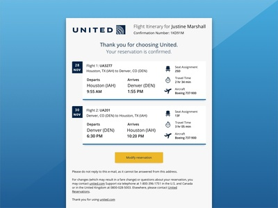 Airline Itinerary E-mail