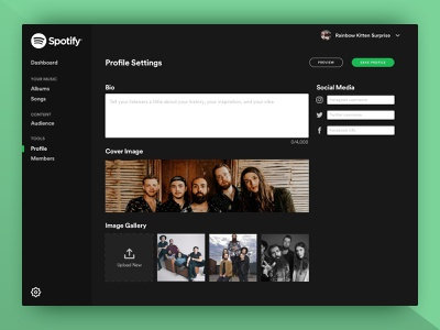 Spotify Artist Manager: Profile Edit Screen designchallenge profiledesign ui profileedit spotify