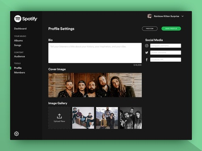 Spotify Artist Manager: Profile Edit Screen
