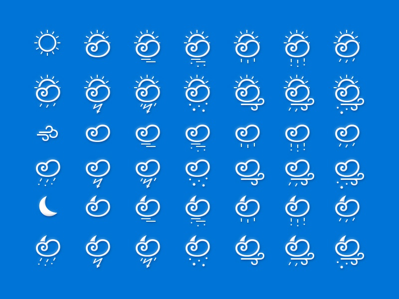 Weather Icons kit weather icons app temperature kit ui psd download ios sun wind moon