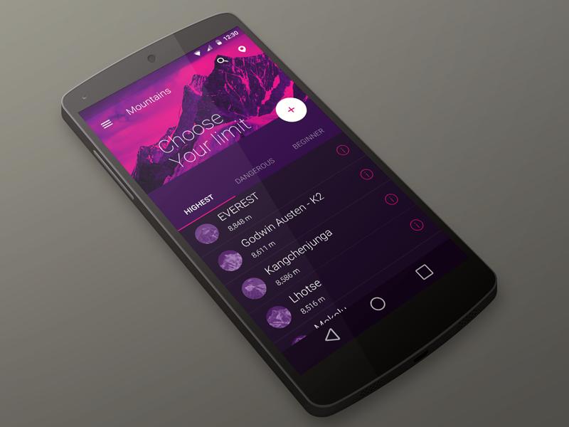 Material Design - Skill improvement app android material material design design ui interface mountain purple mobile nexus google