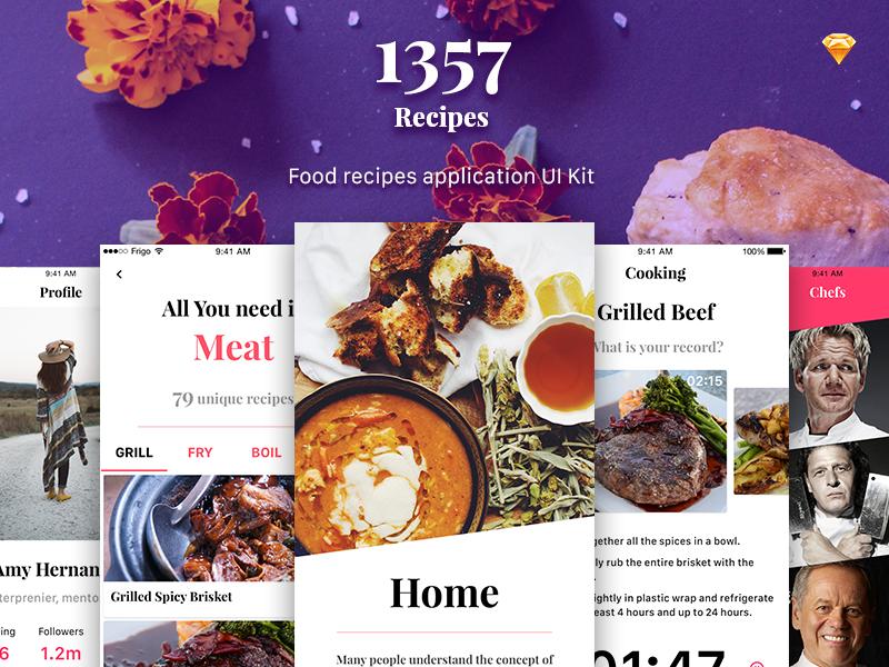 1357 Recipe app UI Kit freebie ukraine ios mockup template design kit download ui app food recipe