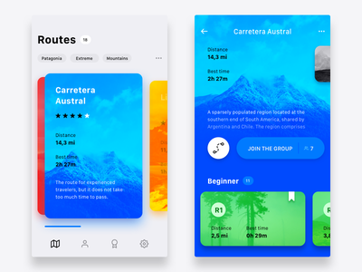 Hiking app concept ios colorful cards design ui concept app travel tourism hiking hike