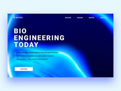 Bio Engineering landing future micro alien motion ae ui blue biology bio web landing animation survey cell health medicine healthcare