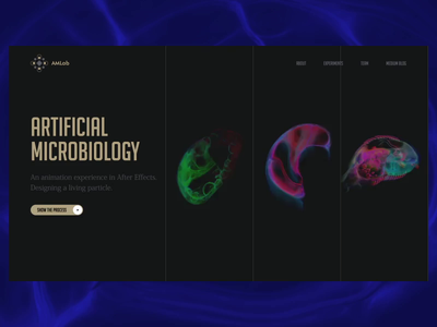 Artificial Microbiology design life cell evolution biology ai science survey healthcare landing web interface ui aftereffects ae animation motion design motion particles