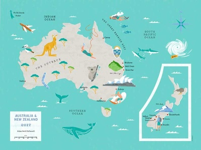 Australia To New Zealand Map.Australia New Zealand Map By Kara Fellows Dribbble Dribbble