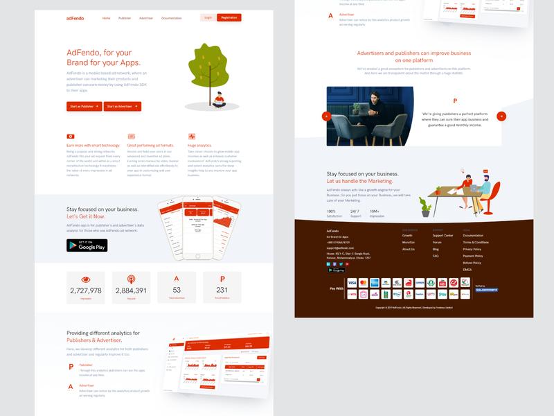 adFendo uiux user interface web ui web design ux landing page vector website illustration web ui