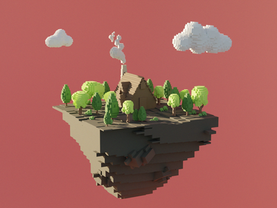 Flying island forest house. Low poly voxel blocks style. voxel rendering modelling render isometric no people wooden house forest cluds island flying sky minecraft colors low poly illustration design blocks 3d