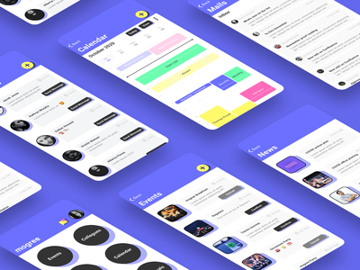 Employee App service user experience user interface news events app chat mail calendar ui employees designer figma design branding ux ui concept