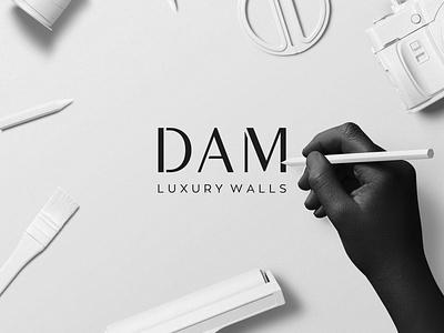 DAM Luxury Walls Brand Identity Design brochure design business card design brand stationery wall art clean brand strategy identity branding design logo brand minimal