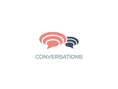Conversations Logo ui app vector minimal logo illustrator identity icon graphic design flat design clean branding brand
