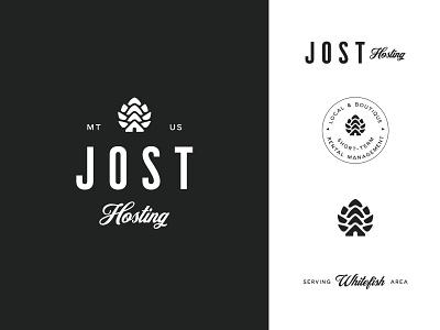 Jost Hosting // Montana Property Maintenance white black management property branding logo negative space home pinecone