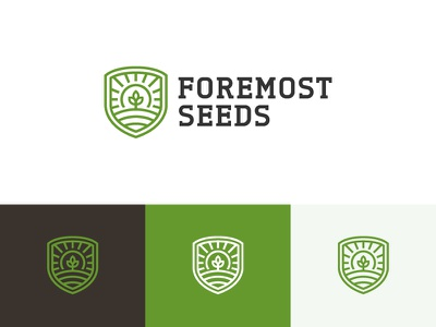 Foremost Seeds 2 shield crest wheat sprout grain icon logo plant grow sun seeds