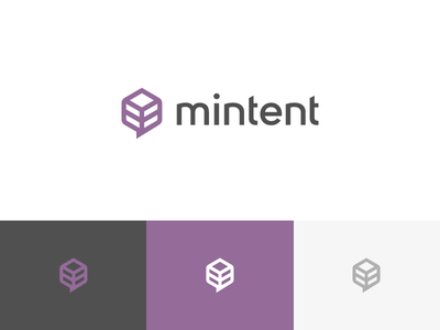 Mintent Re-brand purple wireframe leaf speech bubble content box mint logo rebrand