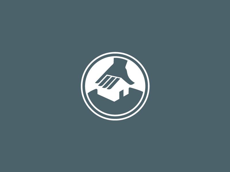 Leclerc Properties symbol logo circle repair negative space hand house