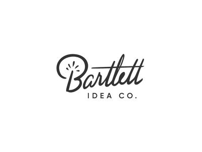 Bartlett Idea Co. Branding lightning white black idea spark calligraphy script
