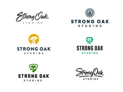 Strong Oak Studios Concepts script branding strong logo tree oak