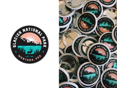 Glacier National Park Buttons crest mountain stickermule sticker button elk park national glacier