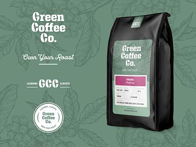 Green Coffee Co. Final Assets branding logo plant beans lettering bag packaging roast green coffee