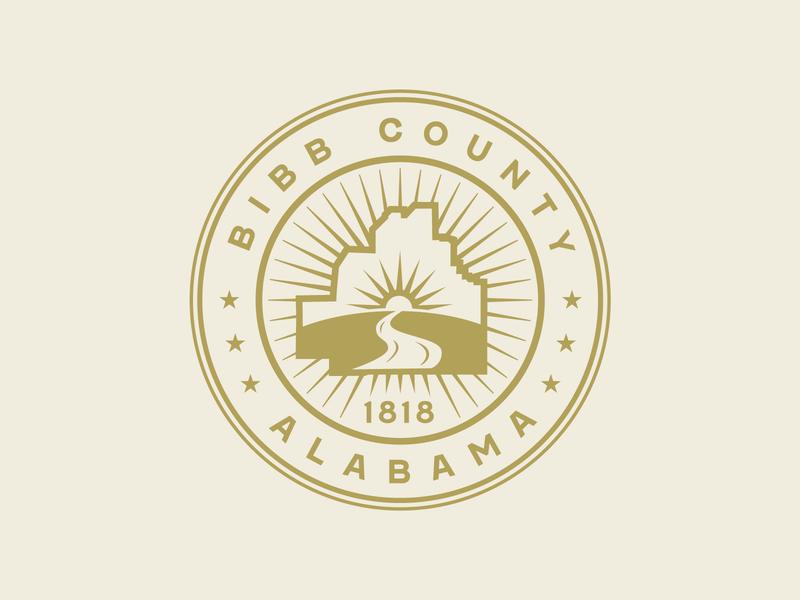 Bibb County Seal alabama gold river sun map crest county badge seal