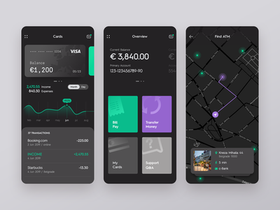Mobile Banking | Dark Mode finance maps map cards bank card dark ui userinterface ux mobile ui ios android mobile banking app banking bank