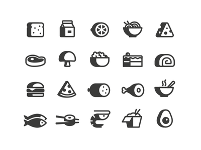 Food Icons pizza steak mushroom cake lemon citrus avocado shrimp fish meat cheese salad soup gluten bread milk icons icon meal food