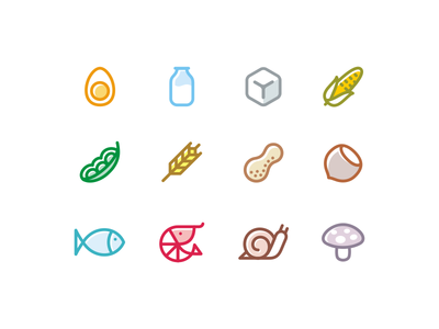 Allergen set milk soy snail fish sugar hazelnut corn egg icons food allergen